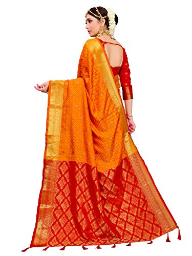 ELINA FASHION Sarees for Women Patola Art Silk Woven Work Saree l Indian Traditional Wedding Ethnic Sari with Blouse Piece (Yellow) by ELINA FASHION (Image #4)