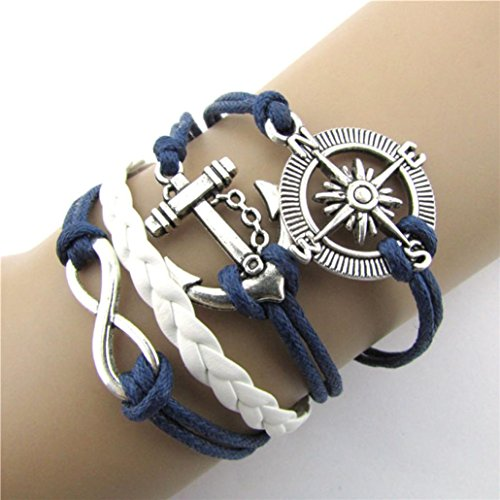 Chunky Antique Bracelet - HIRIRI Women Hot Sale Plated Silver Infinity Love Anchor Compass Leather Braided Rope Charm Bracelet Bangle Jewelry (Blue)