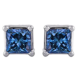 3/4 ct. Blue - I1 Princess Cut Diamond Earring Studs in 14K White Gold