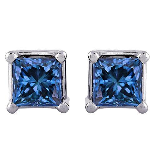 3/4 ct. Blue - I1 Princess Cut Diamond Earring Studs in 14K White Gold