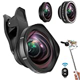 Cell Phone Lens Kit,ARORY 3 in 1 Lens Kit,0.6X Wide Angle Lens + 12X Macro Lens + 198° Fisheye Lens, Clip-On Lenses for iphone 8 7 6 plus + Remote Shutter with Selfie Stick