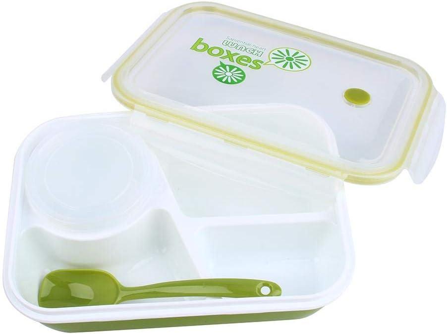"""con 3 scomparti 4 in 1 per bambini e adulti 1 ciotola e 1 cucchiaio Green a prova di perdite stile /""""bento/"""" utilizzabile nel microonde rettangolare scatola per il pranzo Yosoo"""