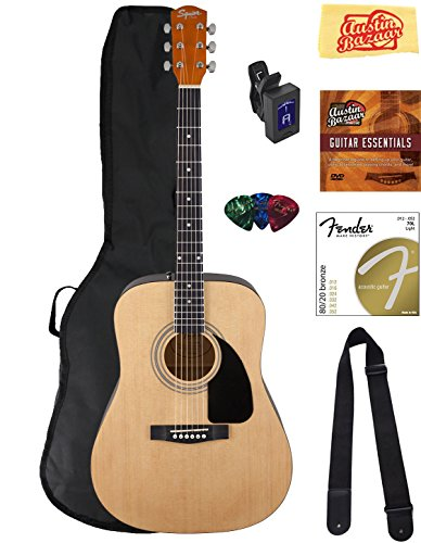 Fender Squier Dreadnought Acoustic Guitar - Natural Bundle with Gig Bag, Tuner, Strap, Strings, Picks, Austin Bazaar Instructional DVD, and Polishing Cloth