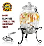 Clear Glass Vintage Drink Dispenser on Elegant Metal Rack Stand - 1.75 Gallon Capacity - Stainless Steel Leak Free Spigot Included - Home Bar & Party Beverage Server