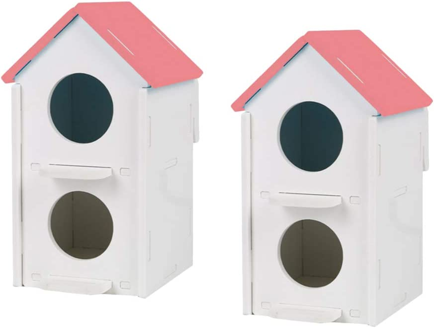 FLAMEER 2 Piezas 2 Capas Pequeña Jaula Casa Cría Caja Nido para Aves Loro Cacatúas Rosa: Amazon.es: Productos para mascotas
