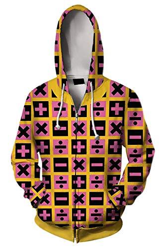 JoJo's Bizarre Adventure Jotaro Kujo Hooded Sweater 3D Printed Kujo Jotaro Zipper Coat Jacket Hoodie (XXL, Trish Una)]()