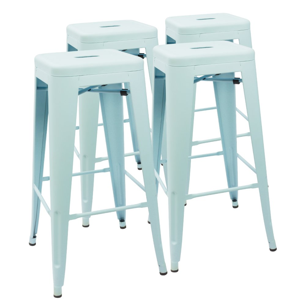 Devoko Metal Bar Stool 30'' Tolix Style Indoor/Outdoor Barstool Modern Industrial Backless Light Weight Bar Stools with Square Seat Set of 4 (Dream Blue) by Devoko