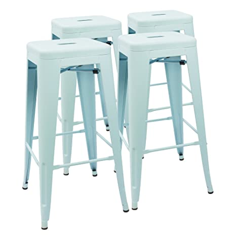 Magnificent Devoko Metal Bar Stool 30 Tolix Style Indoor Outdoor Barstool Modern Industrial Backless Light Weight Bar Stools With Square Seat Set Of 4 Blue Pabps2019 Chair Design Images Pabps2019Com