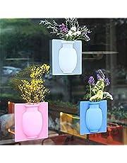 3pcs Removable Silicone Flower Vase, Stick on The Wall Flower Pot, Magic Flower Plant Vases, Rubber Silicone Floret Pots Bottle Home Decor