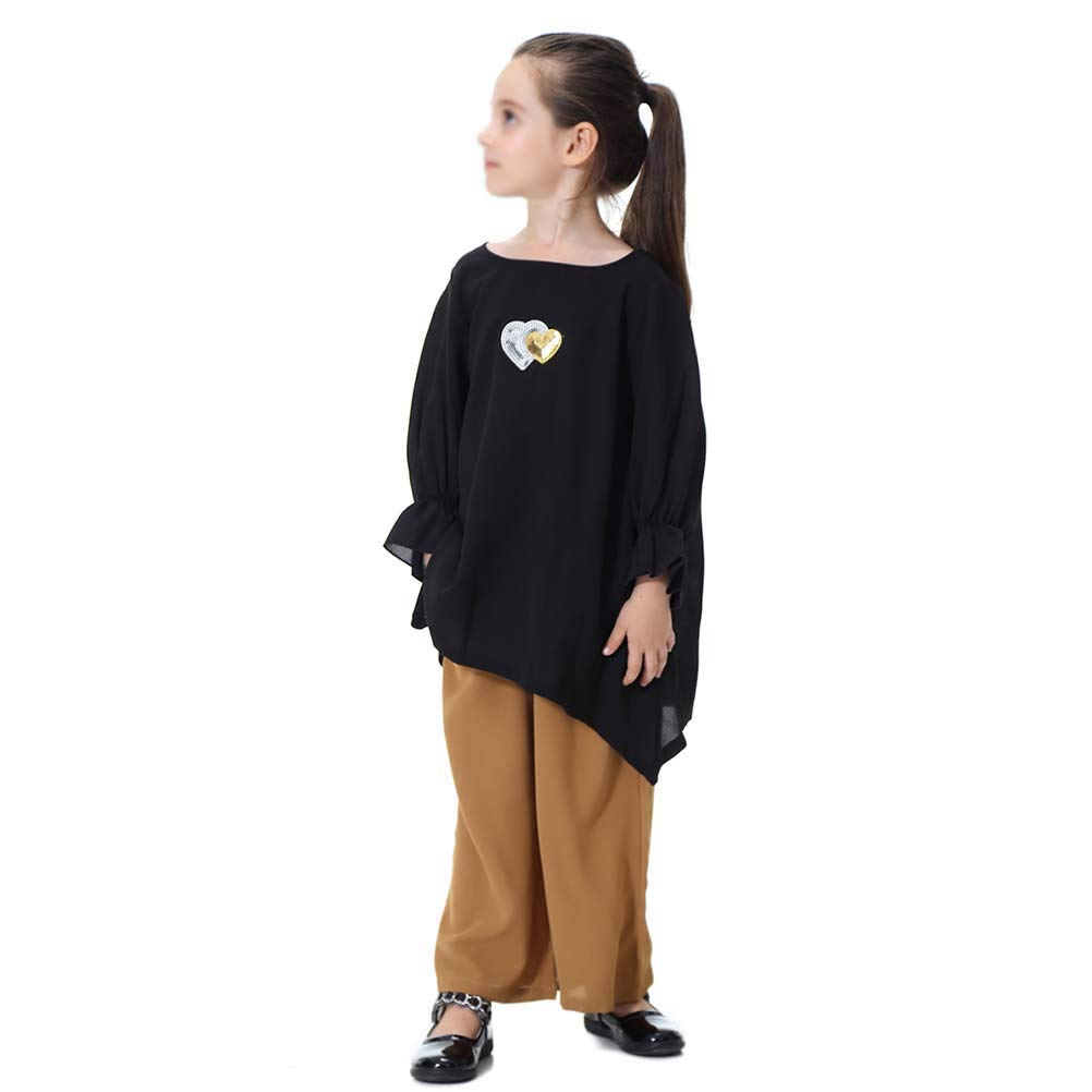 140cm Girls Loose Pants Round Neck a Two-Piece Suit Consists of Tops and Pant TH617 Black