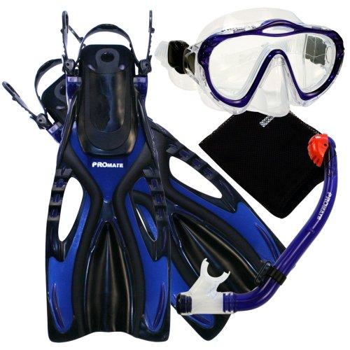 Promate 4570, bu, sm, Junior Snorkeling Scuba Diving Mask Dry Snorkel Fins Set for Kids