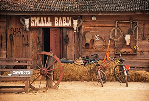Leyiyi 7x5ft Photography Background Grunge Graffiti Small Barn Horseshoes Vintage Wooden Stable Countryside Hay Bycicles Farming Tools Wheel Coach Cowboys Photo Portrait Vinyl Studio Video -