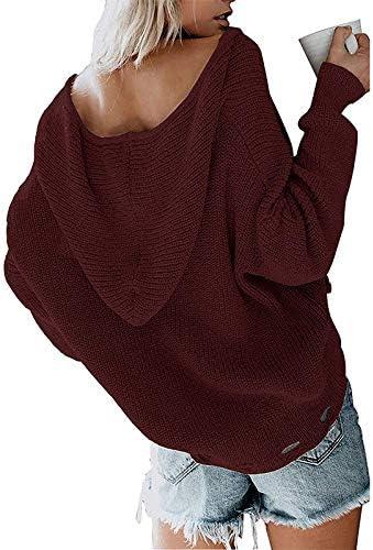 KCatsy Donna Plus Size Maglione Maglioni Bluse strappato Vintage Lavorato a Maglia con Cerniera con Cappuccio da Donna Maglieria Overshirt 7 Colori