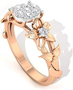0.23 Ct IGI Certified Diamond Mixed Metal Ring, Statement Anniversary Ring, IJ-SI Color Clarity Diamond Wedding Ring, Flower Gold Women Partywear Ring