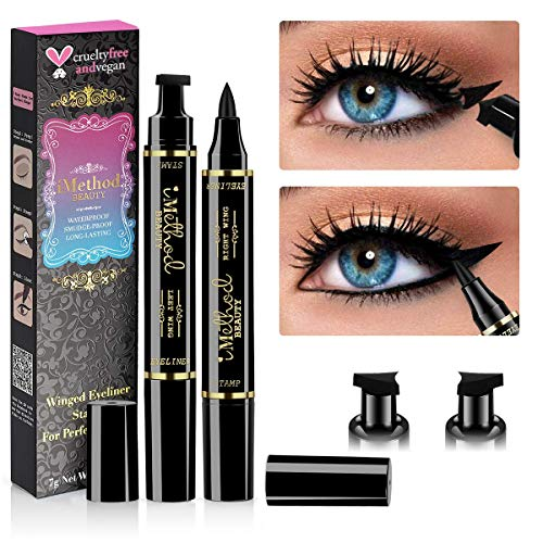 iMethod Winged Eyeliner Stamp - 2 Pieces Left & Right Double Sided Liquid Wing Eyeliner Stamp, Waterproof, Smudge-proof and Sweat-proof, the Easiest Way to Get Perfect Cat Eye Look