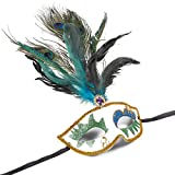 Masquerade Masks – 3-Pack Venetian Ball Party Face Masks with Peacock Feather for Carnival, Carnaval, Mardi Gras, Fancy Dress Halloween, Cosplay Events, White and Gold - 15.2 x 7 x 3.5 inches