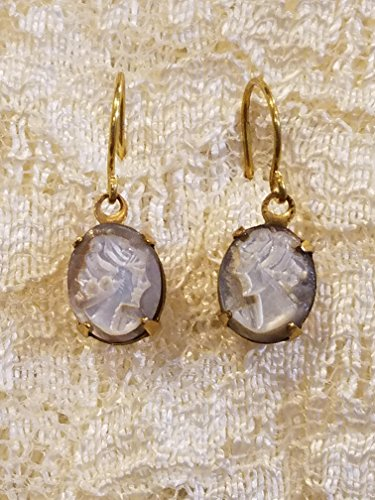 Carved Shell Cameo Earrings - Victorian Style Cameo Earrings Real Carved Mother of Pearl Shell Small
