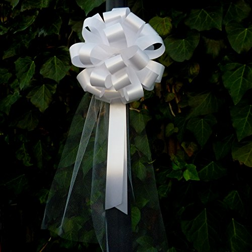 """White Wedding Pull Bows with Tulle Tails - 8"""" Wide, Set of 6"""