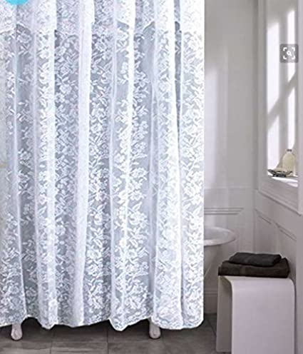 Amazoncom Romance Lace Fabric Shower Curtain With An Attached