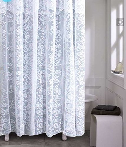 Romance Lace Fabric Shower Curtain With An Attached Valance, 70 X 72 Long