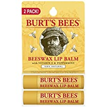 Burt's Bees 100% Natural Lip Balm, Beeswax, 8.5g, 2 Count