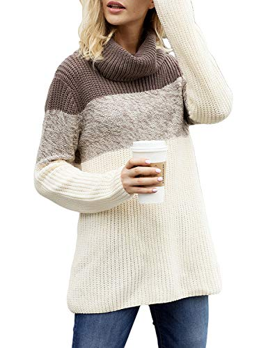 Utyful Women's Brown Long Sleeve Turtleneck Color Block Casual Knit Sweater Pullover L(US (L/s Pullover Sweater)