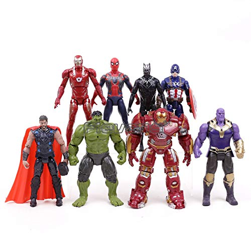 Marvel Avengers Infinity War Action Figures Toys Set Hulk Black Panther Captain America Spiderman Thanos Iron Man Hulkbuster ()