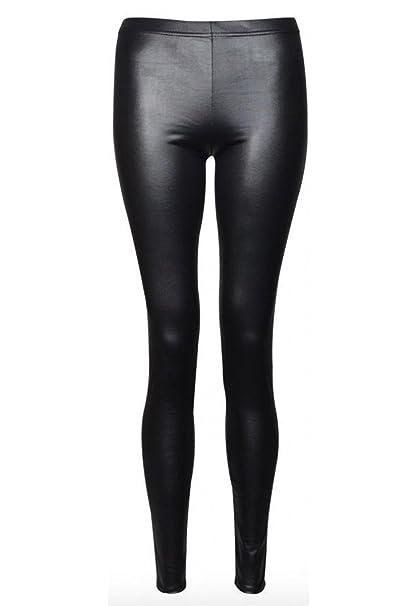 aspetto dettagliato c6b64 4e762 Nuovi leggings da donna in finta pelle, nero lucido, effetto bagnato,  taglia 40 - 46.
