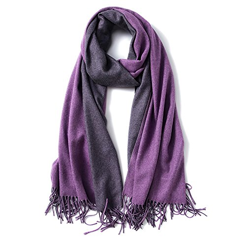 "Cashmere Feel Warm 2 Tone Shawl - Oversized 78""x28"" Wrap Scarf (Dark Purple and Purple)"