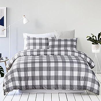Vaulia Lightweight Microfiber Duvet Cover Set, Grid Pattern Design, Grey Color - Queen