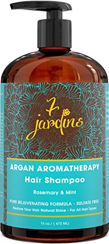 Premium Argan Natural Aromatherapy Shampoo - 16 oz - Best Moisturizing, Volumizing and Nourishing Shampoo for Damaged & Dry Hair with Therapeutic Essential Oils for Men and Women - Therapeutic Natural Shampoo