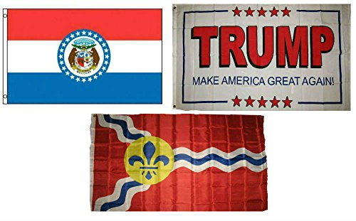 ALBATROS 3 ft x 5 ft Trump White #2 with State Missouri with City St Louis Set Flag for Home and Parades, Official Party, All Weather Indoors Outdoors