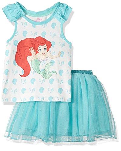 Disney Toddler Girls' Ariel the Little Mermaid 2-Piece Skirt Set, Torq, 4T (Princess Ariel Clothes)