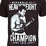Mens Official Muhammad Ali Cassius Clay 3-Time World Heavyweight Champion T Shirt Black Large - Chest 42-44in Black Black