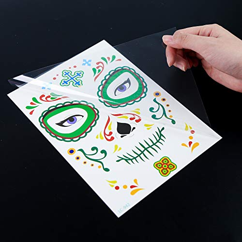3 otters Halloween Temporary Face Tattoos, 19PCS Sugar Skull Face Tattoos Day of the Dead Temporary Face Tattoos Skeleton Face Stickers for Party Favor Supplies