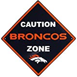 NFL Denver Broncos Caution Wall Sign Plaque, 14″