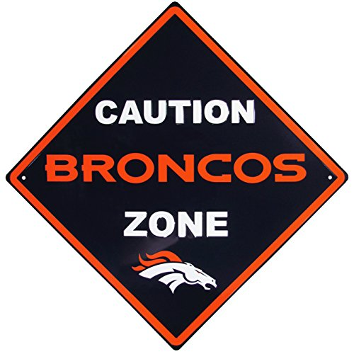 NFL Denver Broncos Caution Wall Sign Plaque, 14
