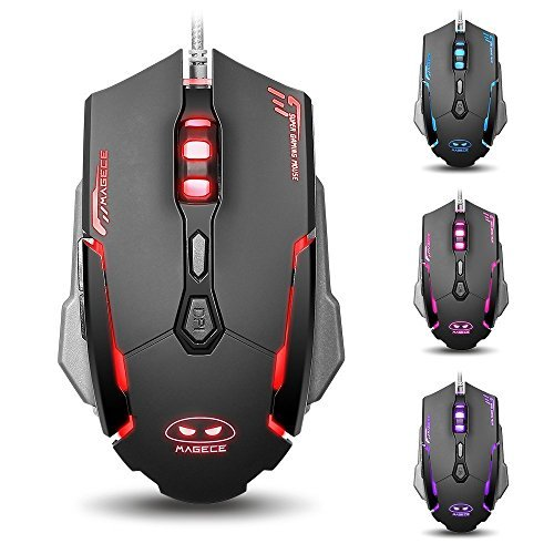 Magece G2 USB Ergonomic Optical Gaming Mouse with 6 Buttons 3200DPI 4 colors LED Light for PC-Black