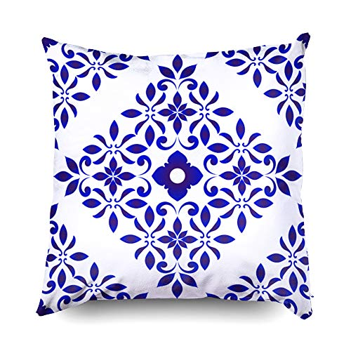 Shorping Decorative Throw Pillow Cover, Home Décor Throw Pillow Cushion Cover Wallpaper in Baroque Style Damask Floral Background Flower Ornament Blue and White vases Simple Deco