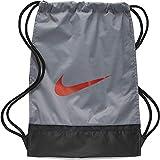 Nike Brasilia Training Gymsack, Drawstring Backpack with Zippered Sides, Water-Resistant Bag, Cool Grey/Black/Habanero