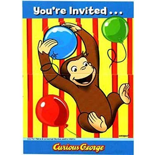 Curious George Invitations (8-pack) - Party Supplies by Unique Industries (Curious George Invitations)