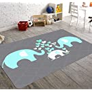 HawkerPeddler Elephant Nursery Decor Kids Room Non-Slip Grey and Green 5ft x 8ft Thin Rug