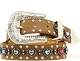 Nocona Girl's Multi Color Heart Conchos Belt, Medium Brown Distressed, 22