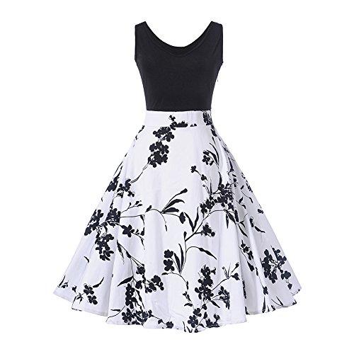 KUREAS 1950's Bowknot Vintage Retro Polka Dot Rockabilly Swing Dress,XX-Large,White ()