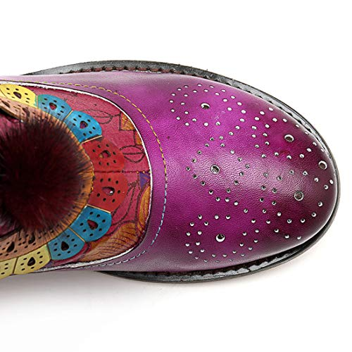 Blocco Blocco Purple Donna Stivali In Tacco Scarpe Scarpe Inverno SERAPH Pelle Stivaletti A Neve Scarpe Comodi Piedi Stivali Basso 85anUHq