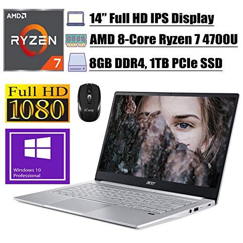 "2020 Flagship Acer Swift 3 Thin & Light Business Laptop, 14"" FHD IPS, AMD 8-Core Ryzen 7 4700U(Beats i7-10510U), 8GB DDR4 1TB PCIe SSD, Fingerprint Backlit USB-C Win 10 Pro + iCarp Wireless Mouse"