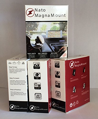 Price comparison product image Nato Magna Mount [4 Pack ] Magnetic Car Mount Holder for iPhone 7s 6s Plus 6s 5s Samsung Galaxy S8 Edge S7 S6 Note 5 Note 4, cell phones and Tablets, Universal 360 degree, laptops less than 2 Ib.