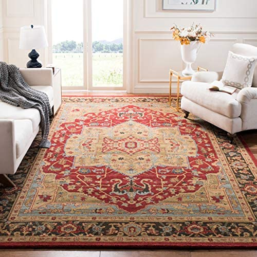 Safavieh Mahal Collection MAH625B Natural and Navy Area Rug, 8 x 10