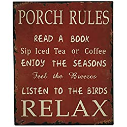 YK Decor Porch Rules Metal Sign Read A Book Sip Iced Tea Enjoy Seasons Listen To Birds Relax Decorative Porch Signs for Home Decor