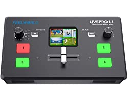 FEELWORLD LIVEPRO L1 V1 Multi Camera Video Mixer Switcher 2 Inch LCD Display 4 x HDMI Inputs USB 3.0 Output Format Real Time